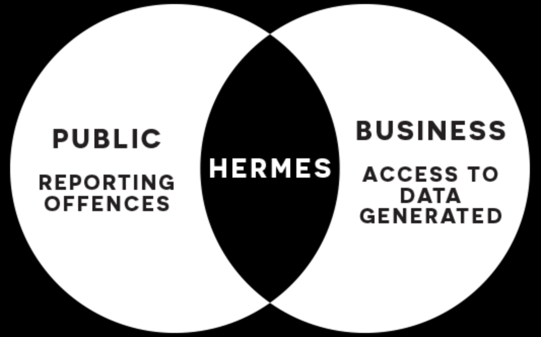 Venn diagram showing public and business needs for new reporting system